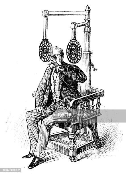 Antique scientific engraving illustration: Optician