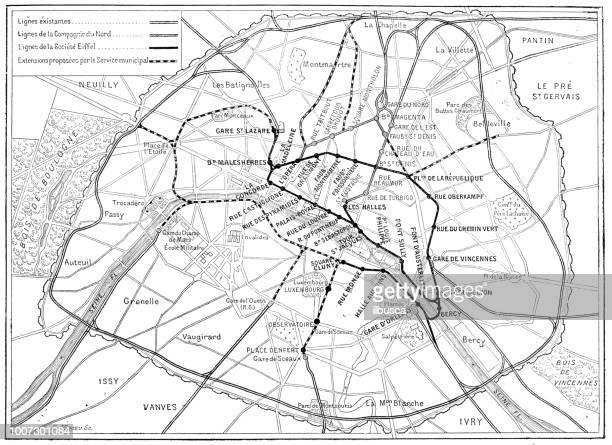 illustrations, cliparts, dessins animés et icônes de antique illustration scientifique gravure: paris metro subway map - culture européenne