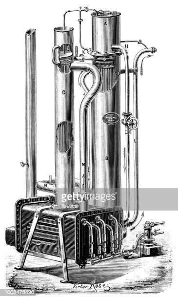Antique scientific engraving illustration: Pasteurization machine