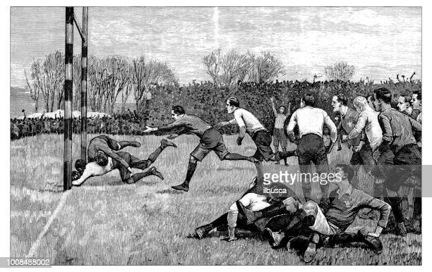 antique scientific engraving illustration: rugby or football - try scoring stock illustrations