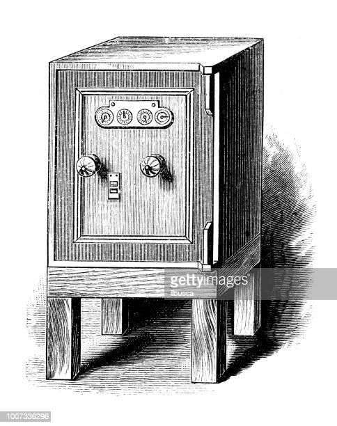 Antique scientific engraving illustration: Safe