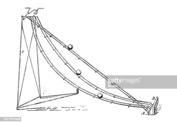 antique scientific engraving illustration: scientific experiment, gravity - physics stock illustrations