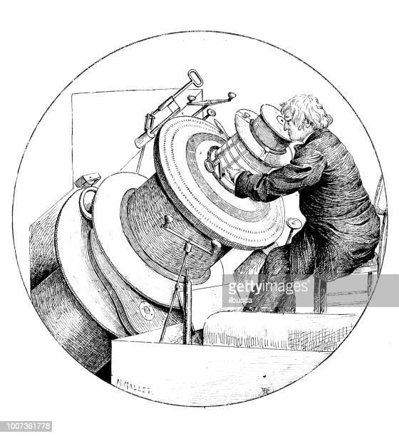 illustrations, cliparts, dessins animés et icônes de antique illustration scientifique gravure: télescope - science et technologie