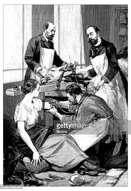 antique scientific engraving illustration: tuberculosis treatment research - 19th century stock illustrations