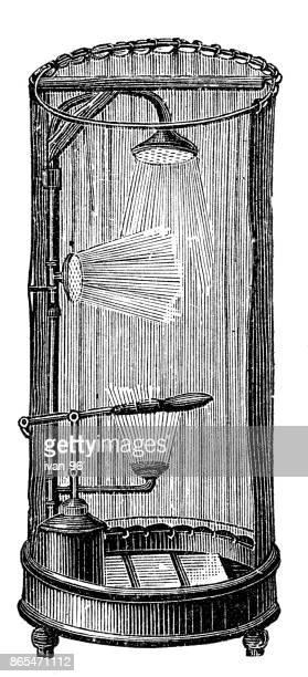 ilustraciones, imágenes clip art, dibujos animados e iconos de stock de cabina de ducha antiguo - ducha