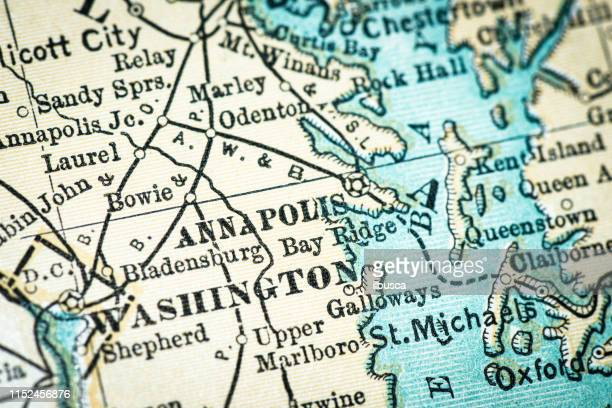 antique usa map close-up detail: annapolis, maryland - maryland us state stock illustrations, clip art, cartoons, & icons