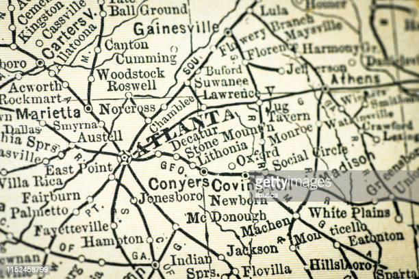 ilustraciones, imágenes clip art, dibujos animados e iconos de stock de detalle de close-up del mapa de antique usa: atlanta, georgia - atlanta georgia