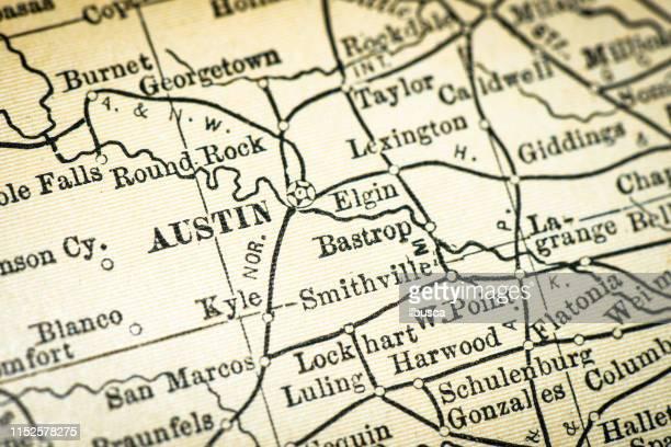 antique usa map close-up detail: austin, texas - texas stock illustrations