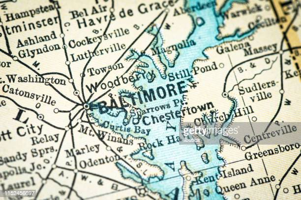 antique usa map close-up detail: baltimore, maryland - baltimore maryland stock illustrations, clip art, cartoons, & icons