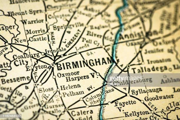 ilustrações, clipart, desenhos animados e ícones de detalhe antigo do close-up do mapa dos eua: birmingham, alabama - birmingham alabama