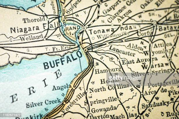 antique usa map close-up detail: buffalo, new york - buffalo new york state stock illustrations