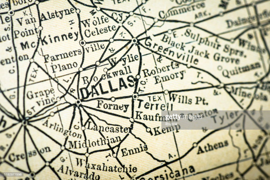 Detail Map Of Texas.Antique Usa Map Closeup Detail Dallas Texas Stock Illustration