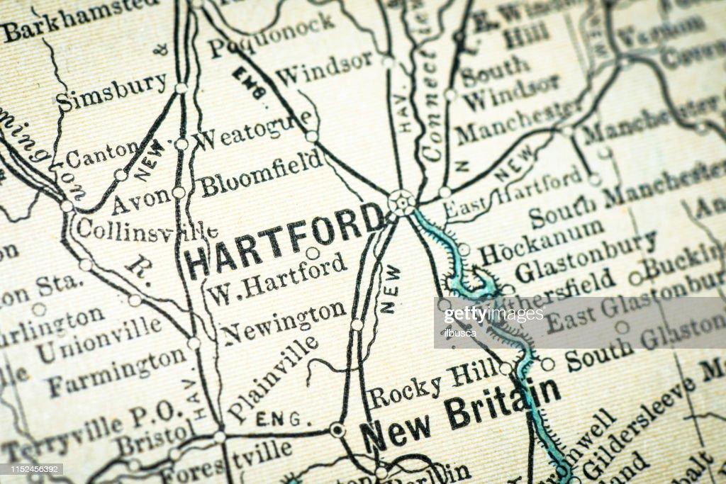 Antique USA map close-up detail: Hartford, Connecticut : Stock Illustration
