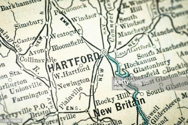 アンティーク usa マップクローズアップ詳細: ハートフォード (コネチカット州) - コネチカット州ハートフォード点のイラスト素材/クリップアート素材/マンガ素材/アイコン素材