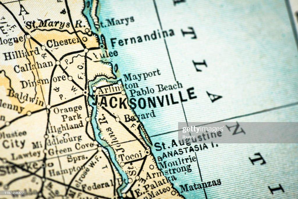 Detail Map Of Florida.Antique Usa Map Closeup Detail Jacksonville Florida Stock