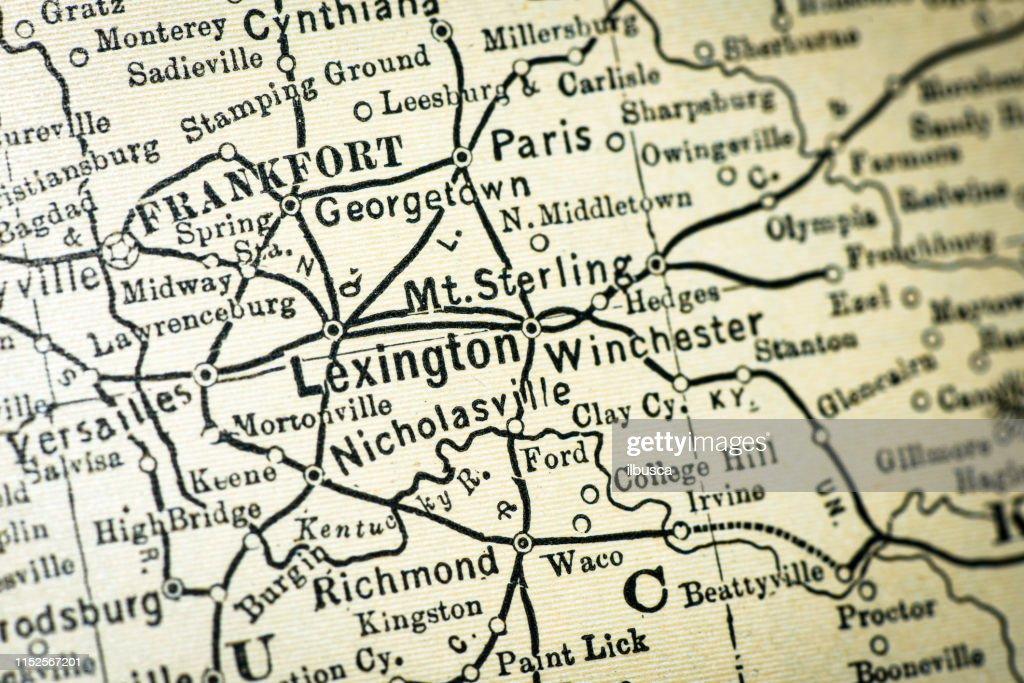 Antique Usa Map Closeup Detail Lexington Kentucky Stock Illustration on nh usa map, va usa map, mt usa map, ms usa map, ak usa map, la usa map, ia usa map, nm usa map, vi usa map, co usa map, lexington kentucky us map, do usa map, wi usa map, vt usa map, state usa map, indiana usa map, lexington usa map, nv usa map, tn usa map, louisville usa map,