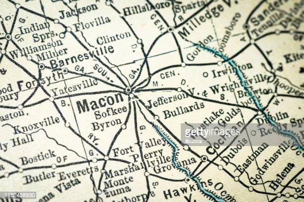 ilustraciones, imágenes clip art, dibujos animados e iconos de stock de detalle de close-up del mapa de antique usa: macon, georgia - georgia estado de eeuu
