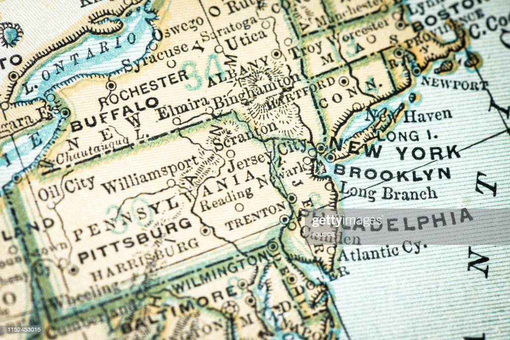 Antique Usa Map Closeup Detail New York Brooklyn Philadelphia stock on