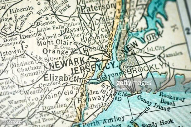 antique usa map close-up detail: newark, jersey city, new jersey - newark new jersey stock illustrations