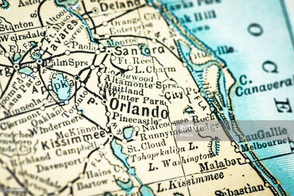 Detailed Map Of Central Florida.Antique Usa Map Closeup Detail Orlando Florida Stock Illustration