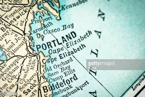 antique usa map close-up detail: portland, maine - portland maine stock illustrations