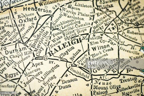bildbanksillustrationer, clip art samt tecknat material och ikoner med antik usa karta närbild detalj: raleigh, north carolina - north carolina amerikansk delstat