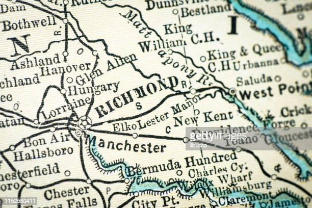 ilustrações de stock, clip art, desenhos animados e ícones de antique usa map close-up detail: richmond, virginia - virgínia estado dos eua