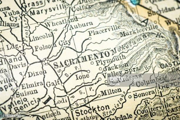 アンティーク usa マップクローズアップ詳細: サクラメント (カリフォルニア州) - 首都点のイラスト素材/クリップアート素材/マンガ素材/アイコン素材