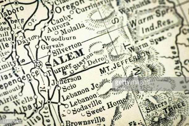antique usa map close-up detail: salem, oregon - salem oregon stock illustrations