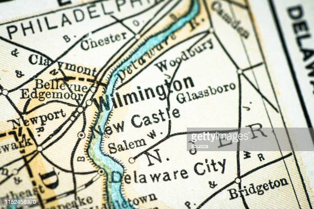 antique usa map close-up detail: wilmington, delaware - wilmington delaware stock illustrations, clip art, cartoons, & icons