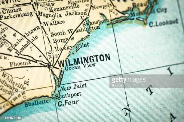 bildbanksillustrationer, clip art samt tecknat material och ikoner med antik usa karta närbild detalj: wilmington, north carolina - north carolina amerikansk delstat