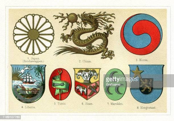 ilustrações, clipart, desenhos animados e ícones de emblemas antigos do vintage de ásia e de áfrica 1897 - libéria