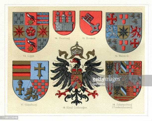 illustrazioni stock, clip art, cartoni animati e icone di tendenza di antichi distintivi vintage dalla germania 1897 - cultura tedesca