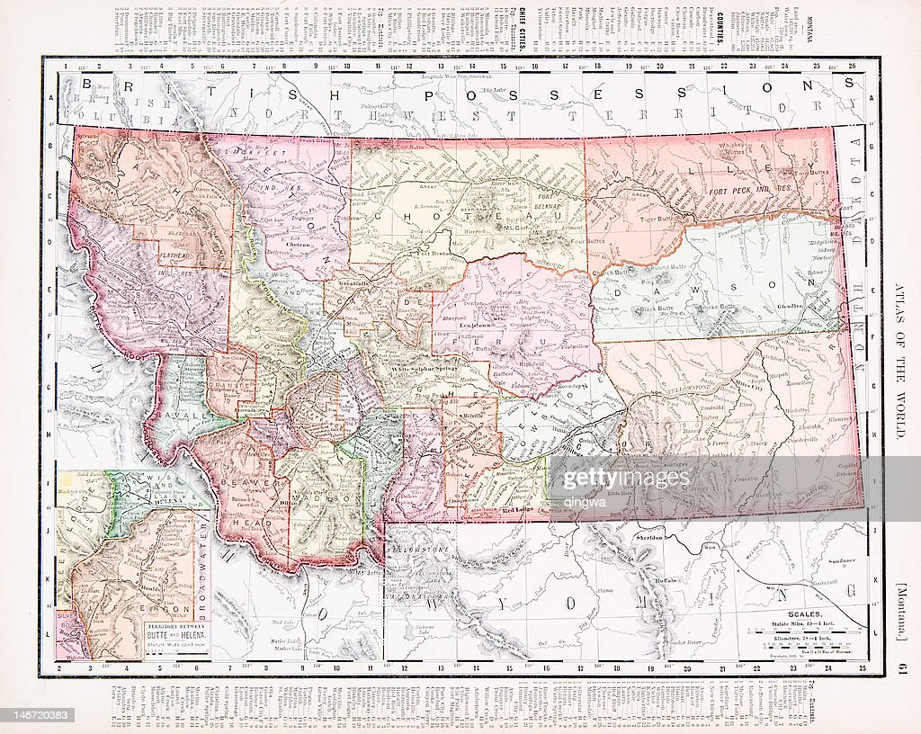 Alte Vintage Farbe Karte Von Montana Usa Stock-Illustration - Getty on