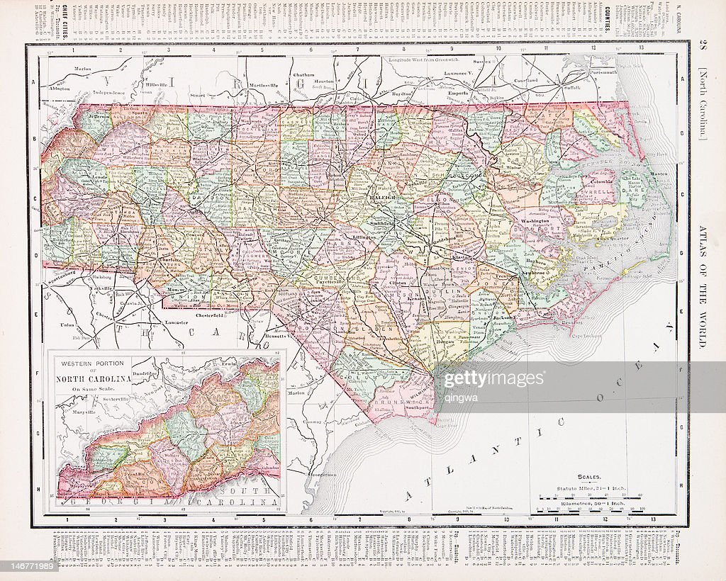 Antique Vintage Color Map Of North Carolina Usa Stock Illustration ...