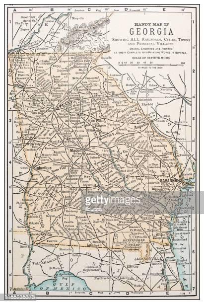 antique vintage retro usa map: georgia - georgia us state stock illustrations