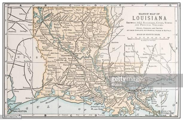 アンティークビンテージレトロアメリカ地図: ルイジアナ州 - ルイジアナ州点のイラスト素材/クリップアート素材/マンガ素材/アイコン素材