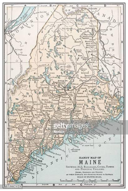 antique vintage retro usa map: maine - maine stock illustrations