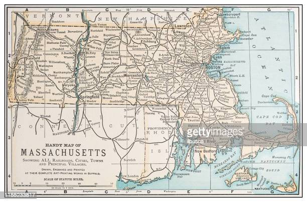 antique vintage retro usa map: massachusetts - massachusetts stock illustrations