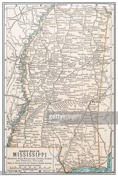antique vintage retro usa map: mississippi - mississippi stock illustrations, clip art, cartoons, & icons