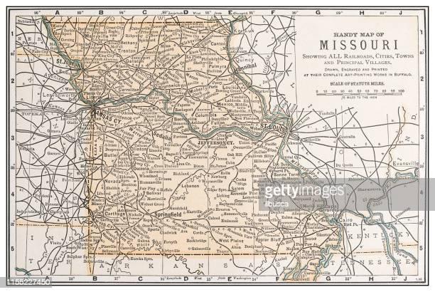 antique vintage retro usa map: missouri - missouri stock illustrations