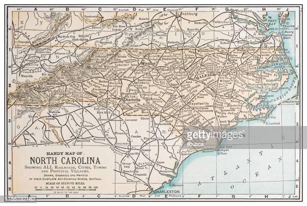 bildbanksillustrationer, clip art samt tecknat material och ikoner med antik vintage retro usa karta: north carolina - north carolina amerikansk delstat
