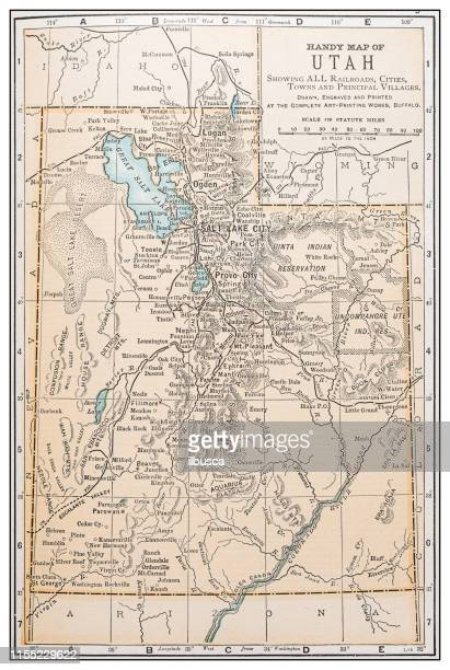 antique vintage retro usa map: utah - utah stock illustrations, clip art, cartoons, & icons