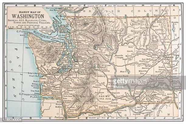antique vintage retro usa map: washington - washington state stock illustrations