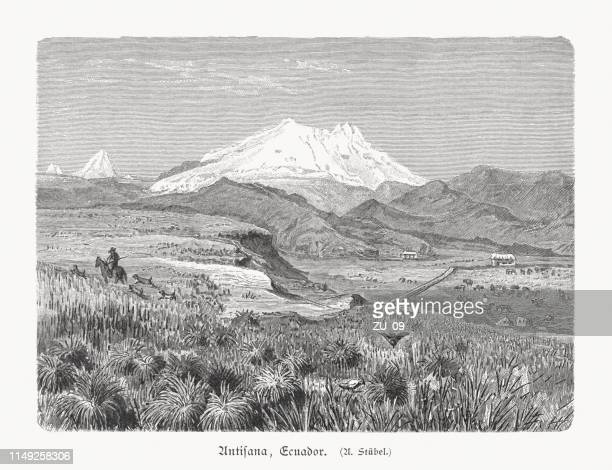 Antisana - stratovolcano in Ecuador, wood engraving, published in 1897