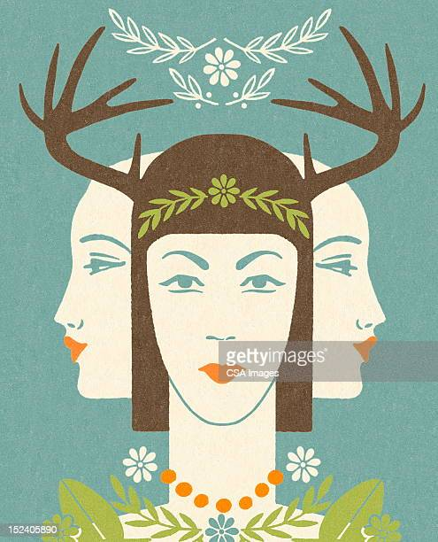 Antler Woman With Two Ladies