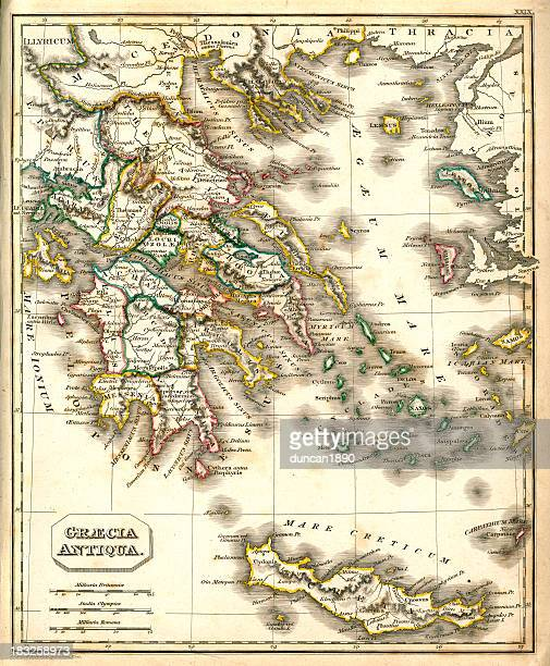 antquie map of ancient greece - ancient greece stock illustrations, clip art, cartoons, & icons