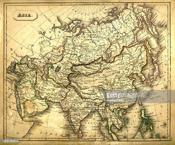 antquie map of asia - china east asia stock illustrations