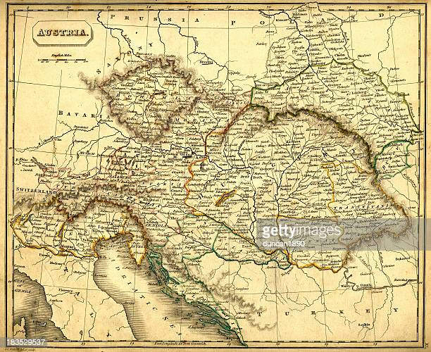 Antquie Map of Austria and Hungary