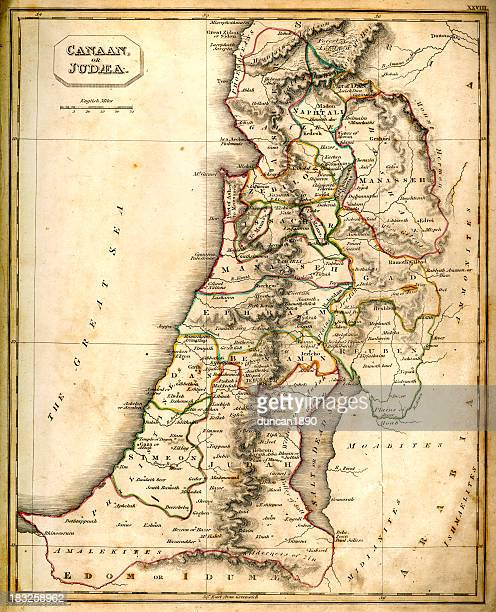 antquie map of canaan or judaea - historical palestine stock illustrations